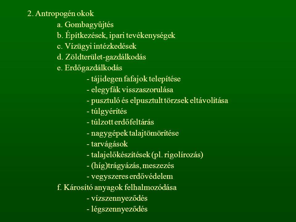 2. Antropogén okok a. Gombagyűjtés. b. Építkezések, ipari tevékenységek. c. Vízügyi intézkedések.