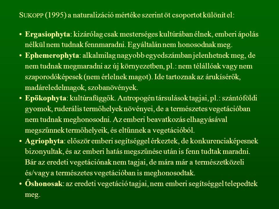 SUKOPP (1995) a naturalizáció mértéke szerint öt csoportot különít el: