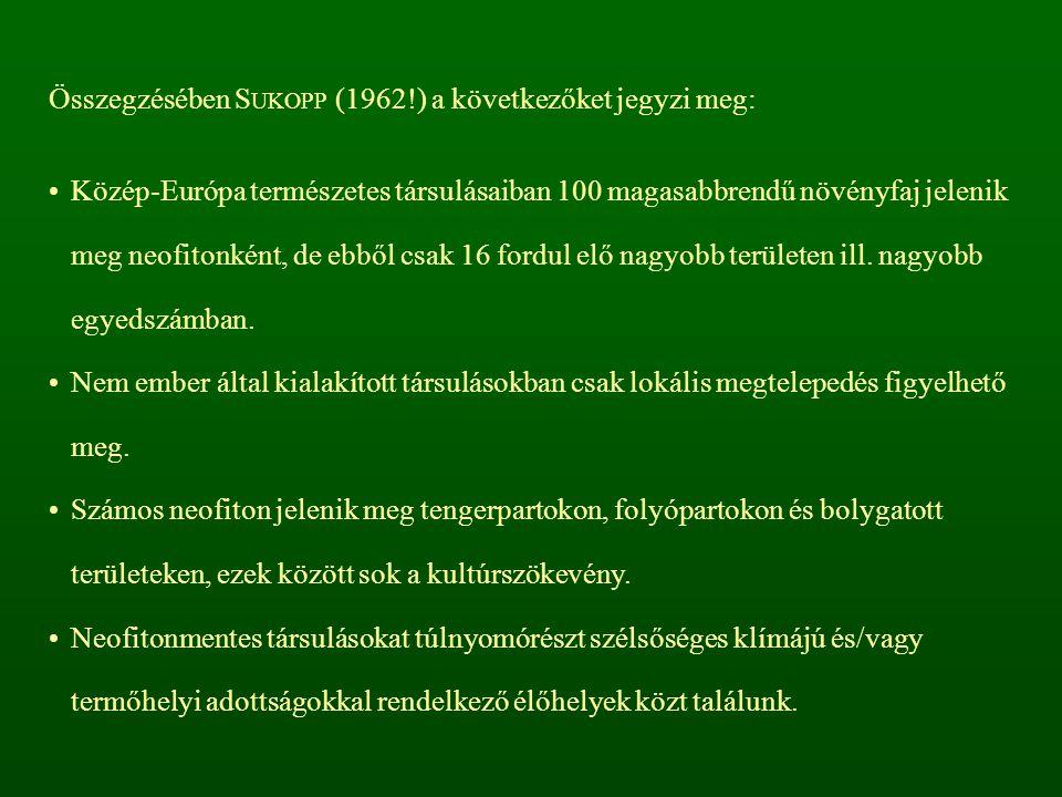 Összegzésében SUKOPP (1962!) a következőket jegyzi meg: