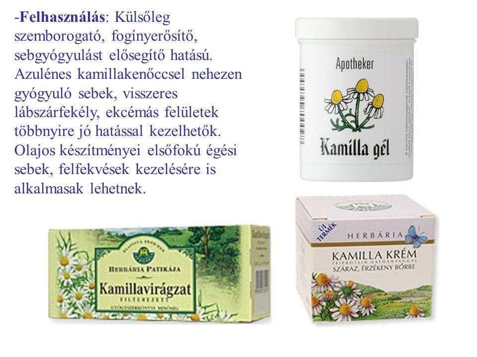 -Felhasználás: Külsőleg szemborogató, fogínyerősítő, sebgyógyulást elősegítő hatású.