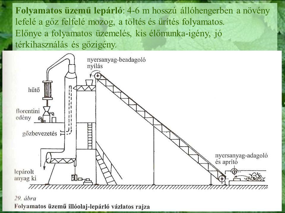 Folyamatos üzemű lepárló: 4-6 m hosszú állóhengerben a növény lefelé a gőz felfelé mozog, a töltés és ürítés folyamatos.
