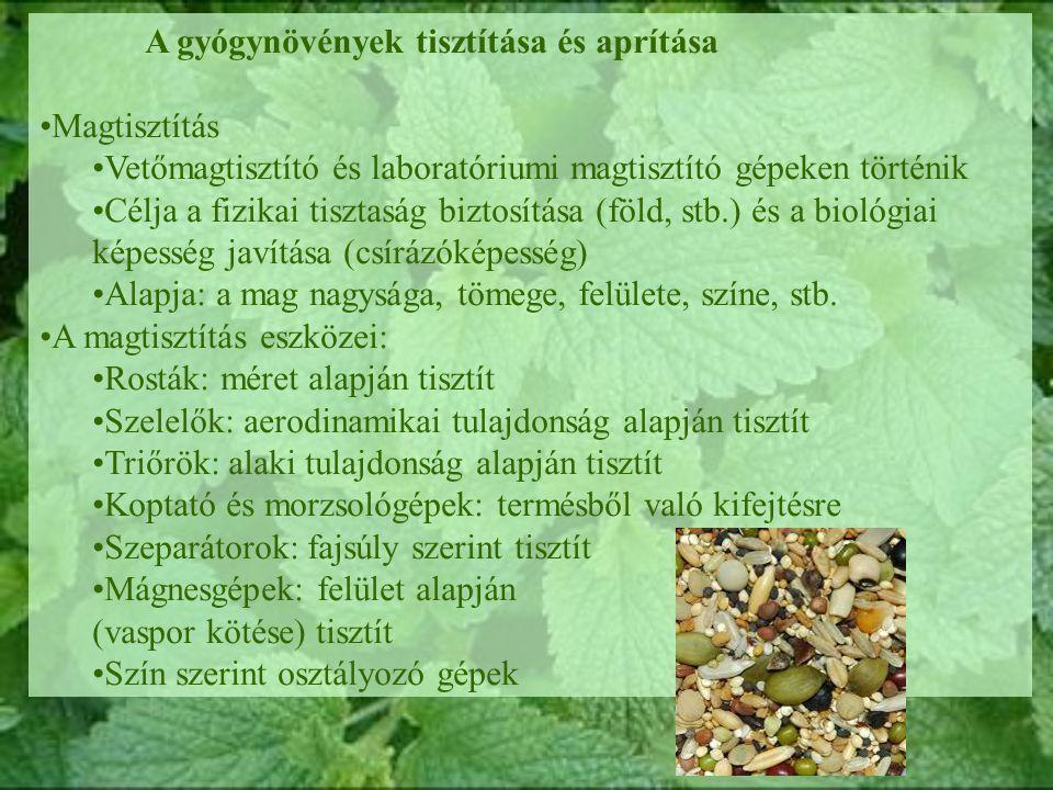 A gyógynövények tisztítása és aprítása