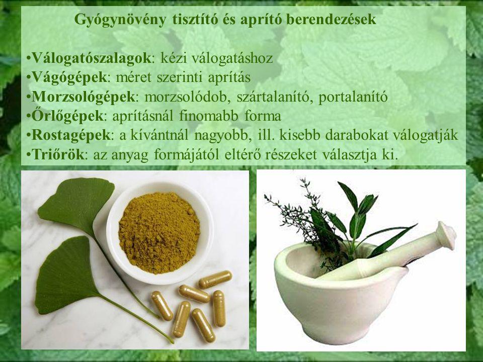 Gyógynövény tisztító és aprító berendezések