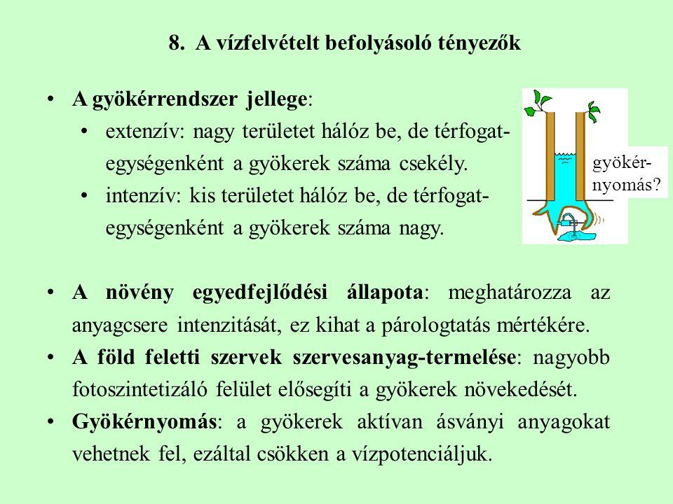 8. A vízfelvételt befolyásoló tényezők