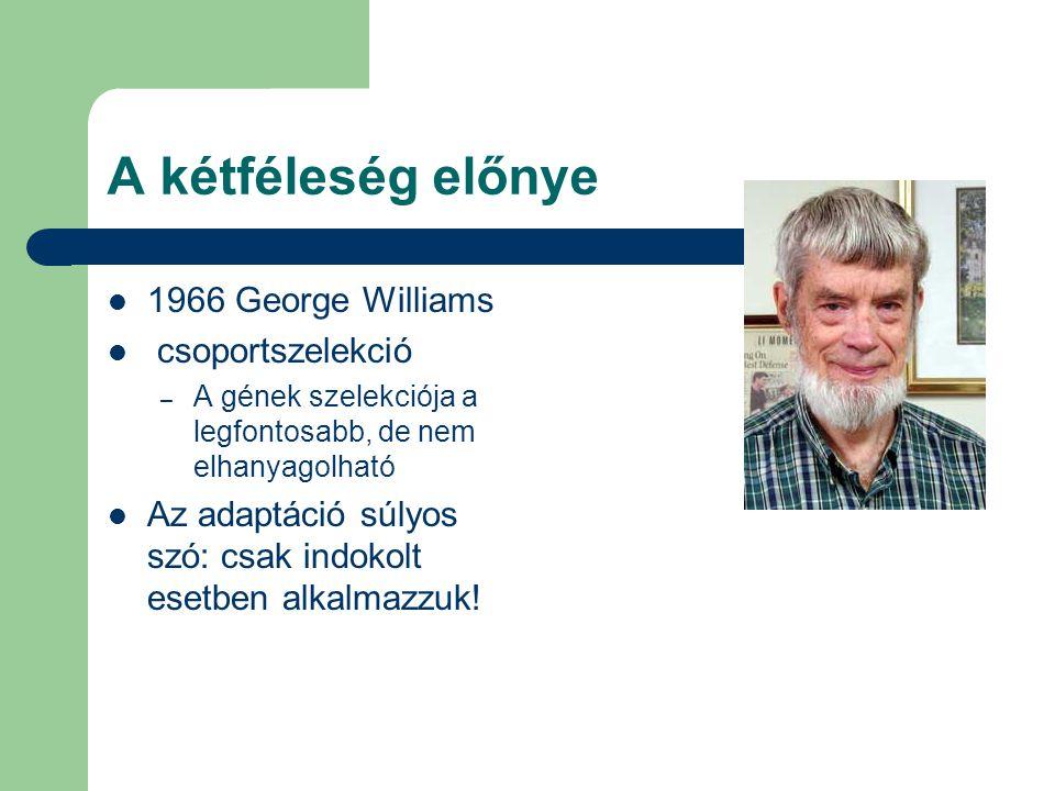 A kétféleség előnye 1966 George Williams csoportszelekció