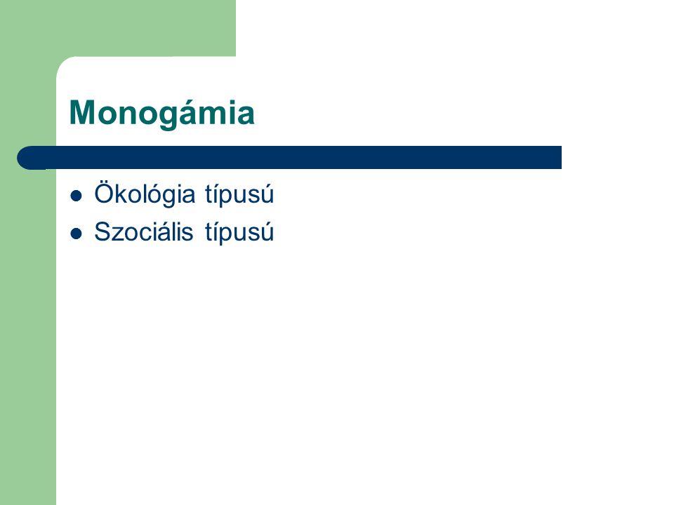 Monogámia Ökológia típusú Szociális típusú