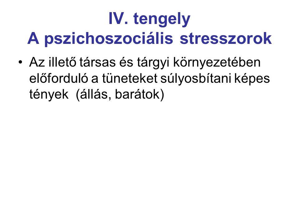 IV. tengely A pszichoszociális stresszorok