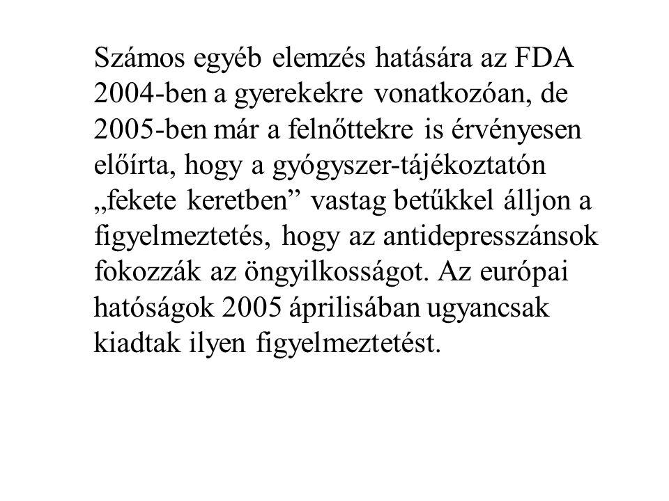 """Számos egyéb elemzés hatására az FDA 2004-ben a gyerekekre vonatkozóan, de 2005-ben már a felnőttekre is érvényesen előírta, hogy a gyógyszer-tájékoztatón """"fekete keretben vastag betűkkel álljon a figyelmeztetés, hogy az antidepresszánsok fokozzák az öngyilkosságot."""