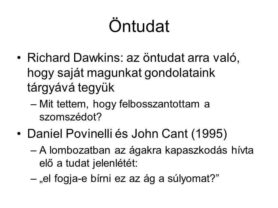 Öntudat Richard Dawkins: az öntudat arra való, hogy saját magunkat gondolataink tárgyává tegyük. Mit tettem, hogy felbosszantottam a szomszédot