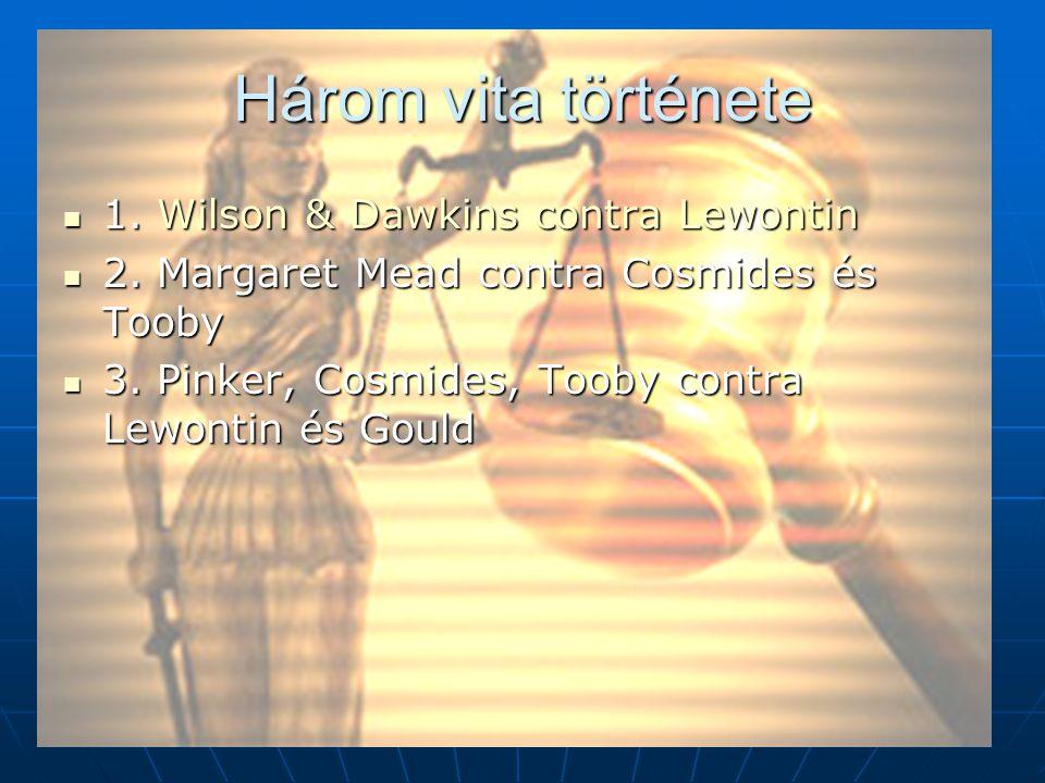 Három vita története 1. Wilson & Dawkins contra Lewontin