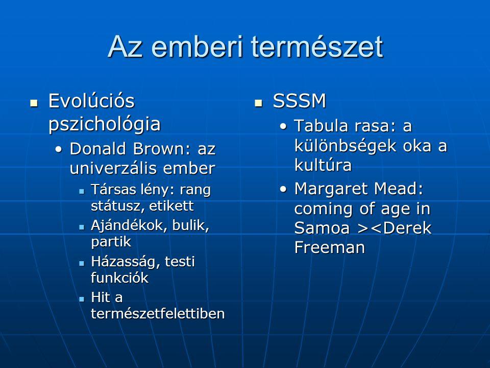 Az emberi természet Evolúciós pszichológia SSSM