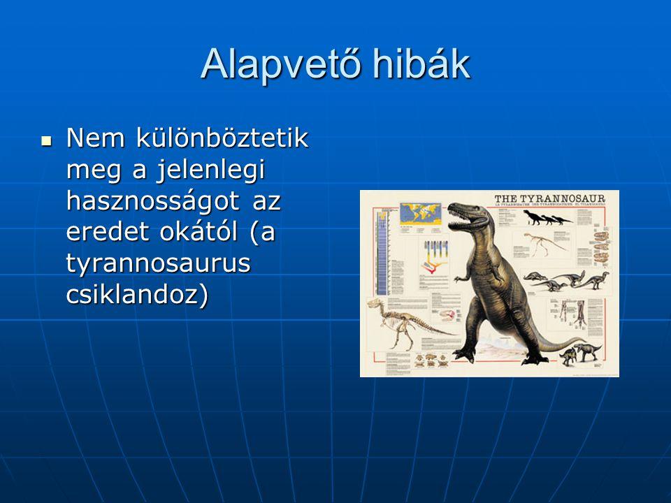 Alapvető hibák Nem különböztetik meg a jelenlegi hasznosságot az eredet okától (a tyrannosaurus csiklandoz)