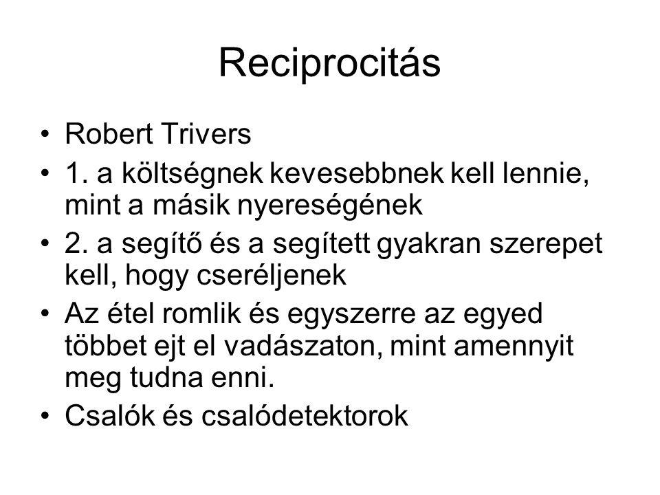 Reciprocitás Robert Trivers