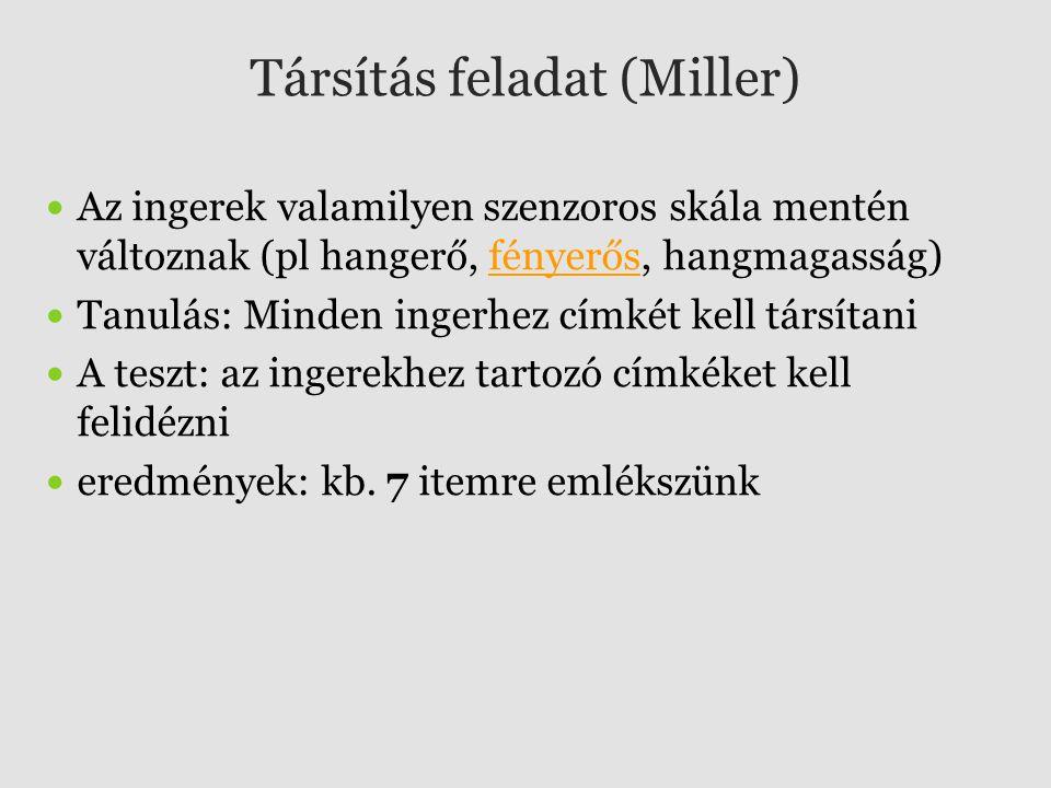 Társítás feladat (Miller)