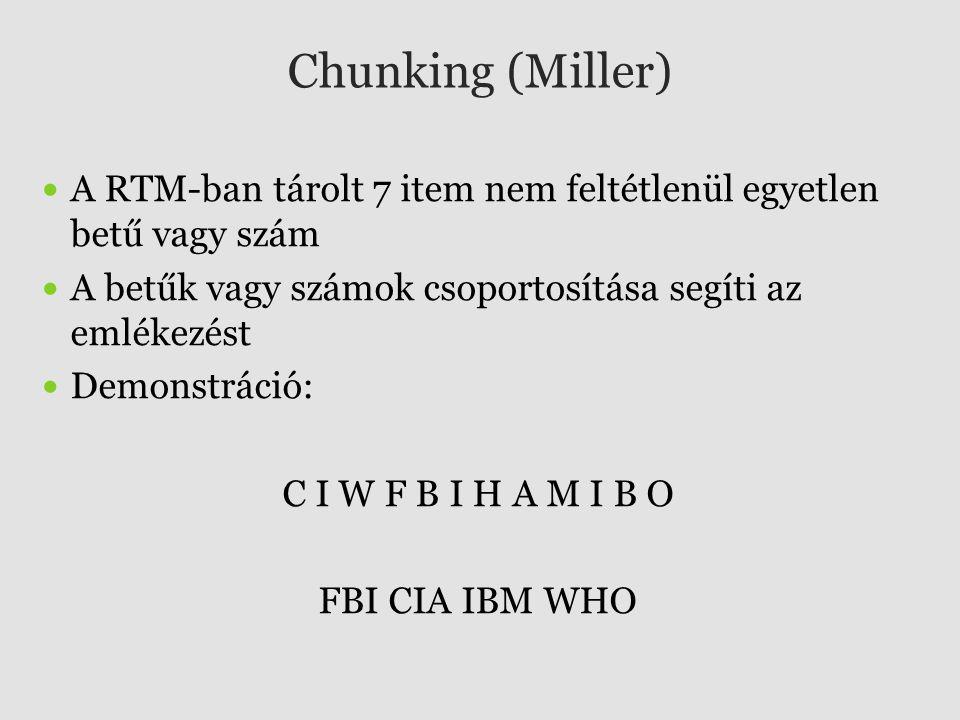 Chunking (Miller) A RTM-ban tárolt 7 item nem feltétlenül egyetlen betű vagy szám. A betűk vagy számok csoportosítása segíti az emlékezést.