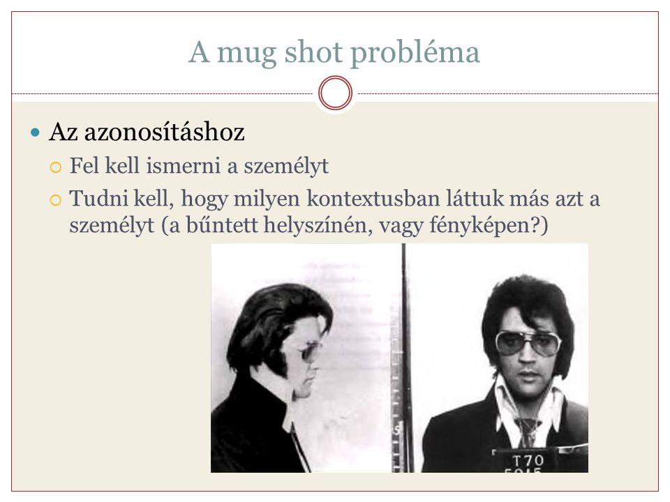 A mug shot probléma Az azonosításhoz Fel kell ismerni a személyt