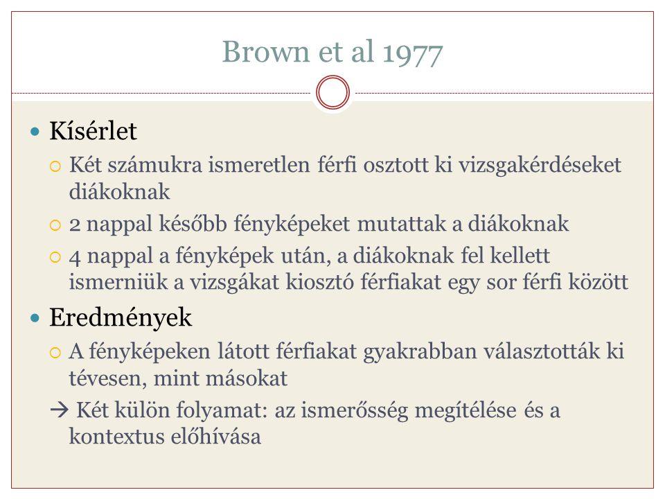 Brown et al 1977 Kísérlet Eredmények
