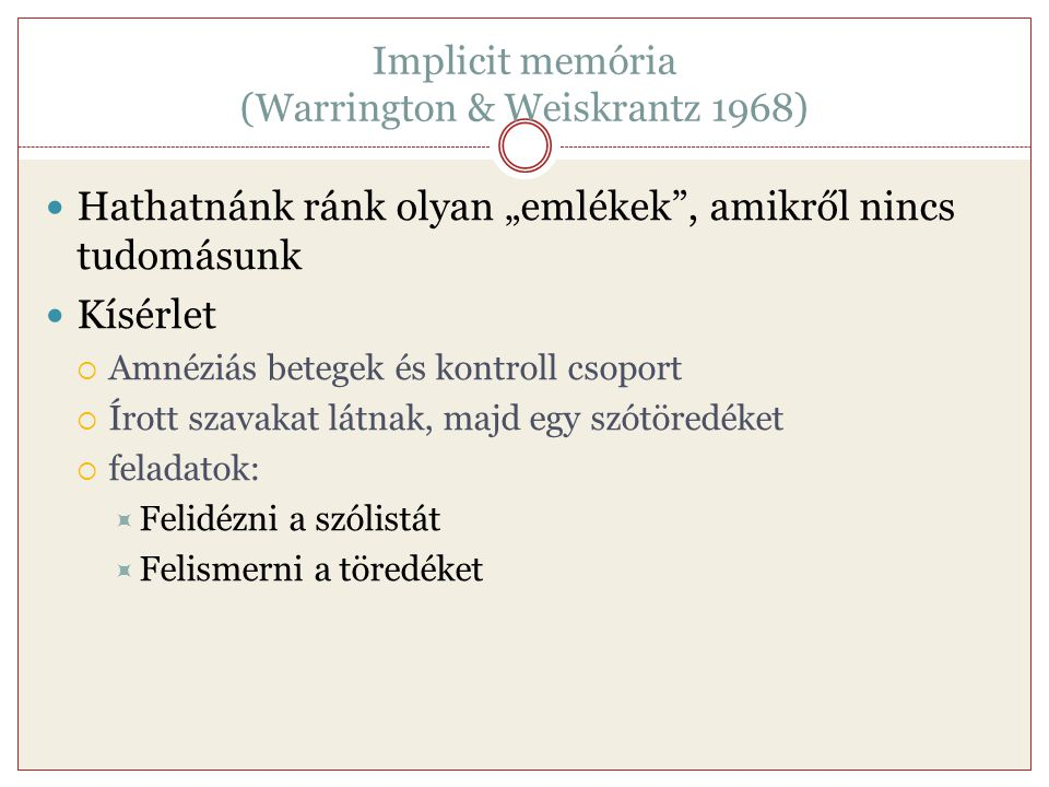 Implicit memória (Warrington & Weiskrantz 1968)
