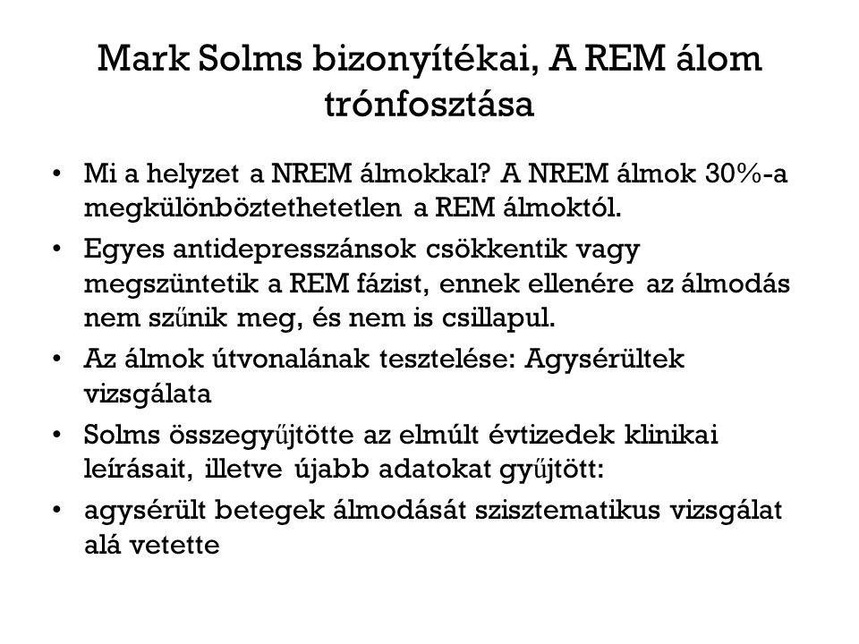 Mark Solms bizonyítékai, A REM álom trónfosztása