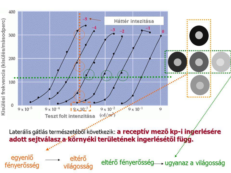 Teszt folt intenzitása Kisülési frekvencia (kisülés/másodperc)