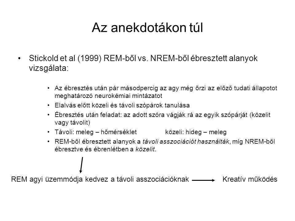 Az anekdotákon túl Stickold et al (1999) REM-ből vs. NREM-ből ébresztett alanyok vizsgálata: