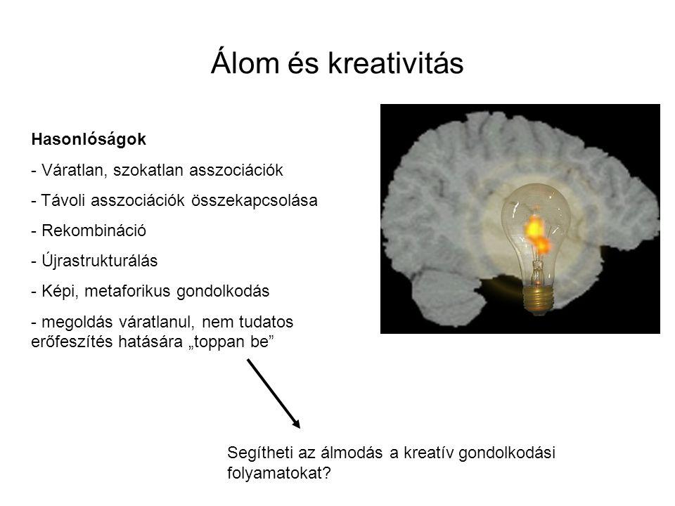 Álom és kreativitás Hasonlóságok Váratlan, szokatlan asszociációk
