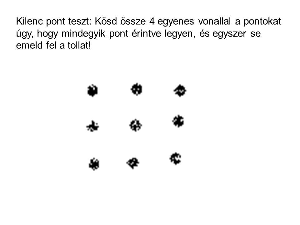 Kilenc pont teszt: Kösd össze 4 egyenes vonallal a pontokat úgy, hogy mindegyik pont érintve legyen, és egyszer se emeld fel a tollat!