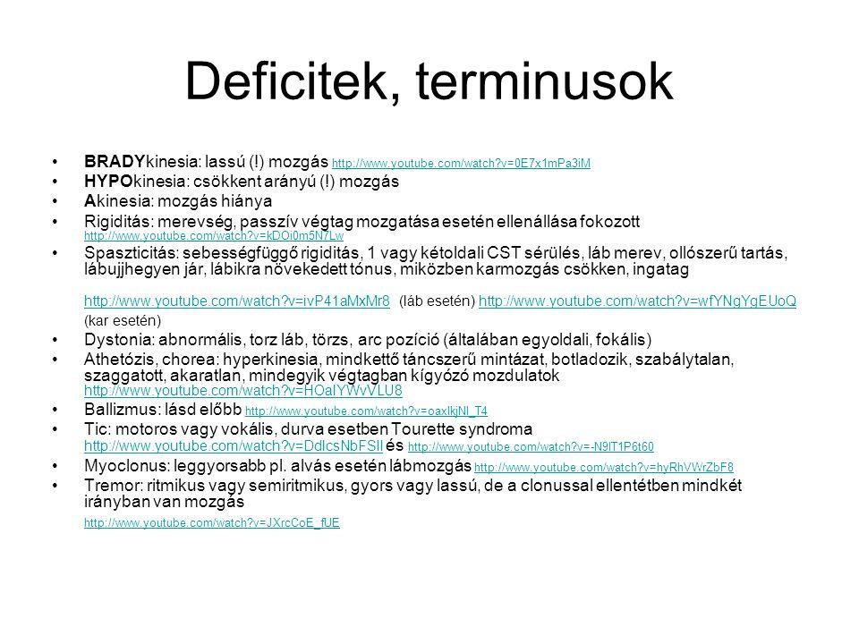 Deficitek, terminusok BRADYkinesia: lassú (!) mozgás http://www.youtube.com/watch v=0E7x1mPa3iM. HYPOkinesia: csökkent arányú (!) mozgás.