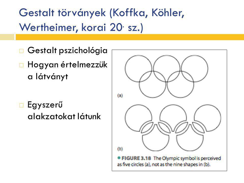 Gestalt törványek (Koffka, Köhler, Wertheimer, korai 20. sz.)