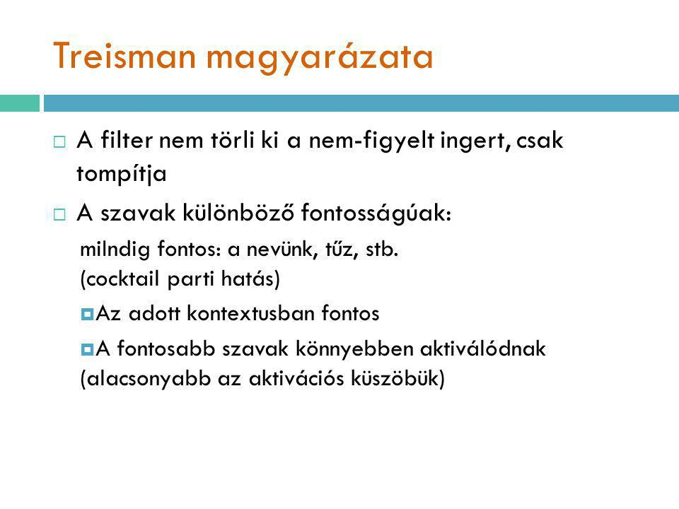 Treisman magyarázata A filter nem törli ki a nem-figyelt ingert, csak tompítja. A szavak különböző fontosságúak: