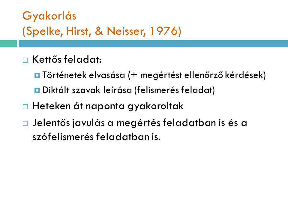 Gyakorlás (Spelke, Hirst, & Neisser, 1976)