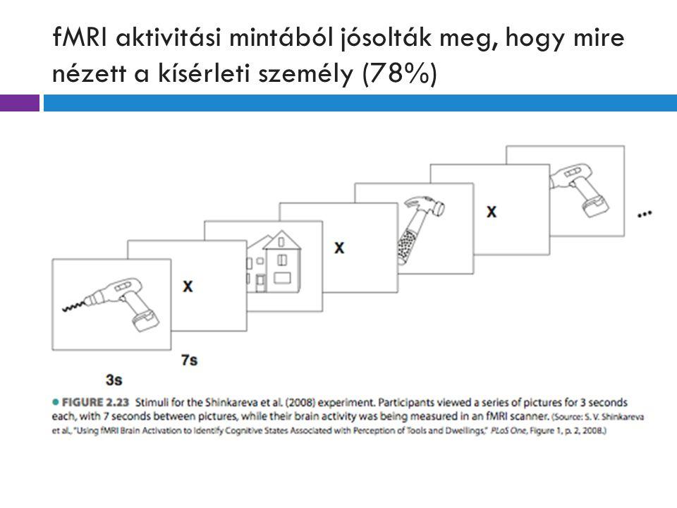 fMRI aktivitási mintából jósolták meg, hogy mire nézett a kísérleti személy (78%)