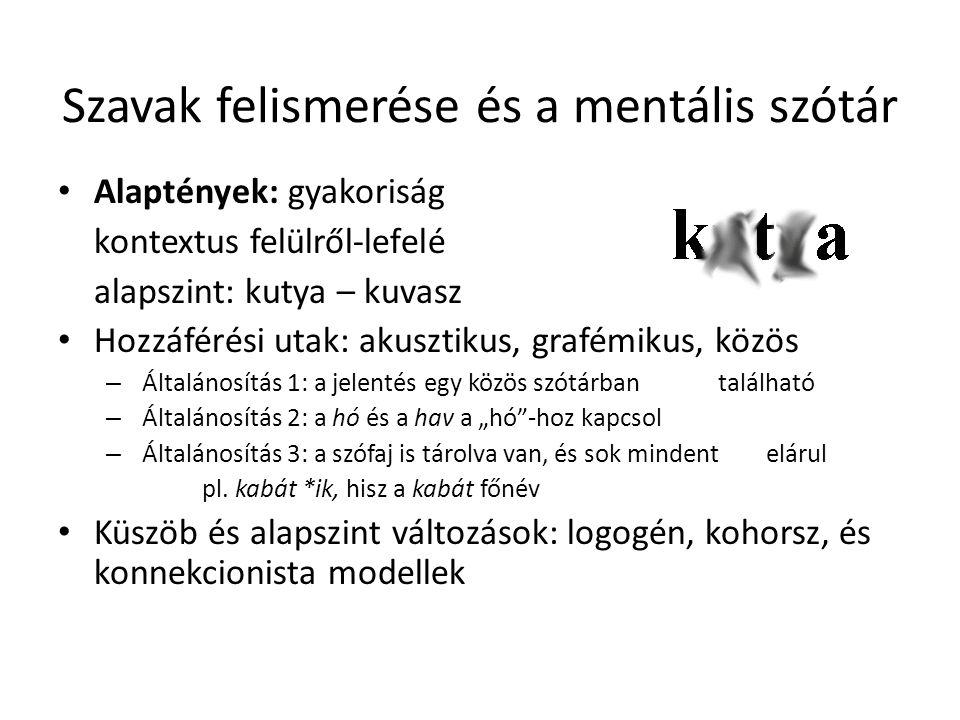 Szavak felismerése és a mentális szótár