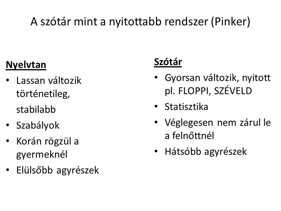 A szótár mint a nyitottabb rendszer (Pinker)