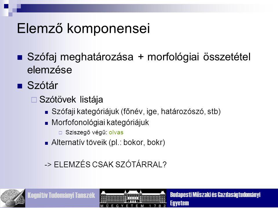 Elemző komponensei Szófaj meghatározása + morfológiai összetétel elemzése. Szótár. Szótövek listája.