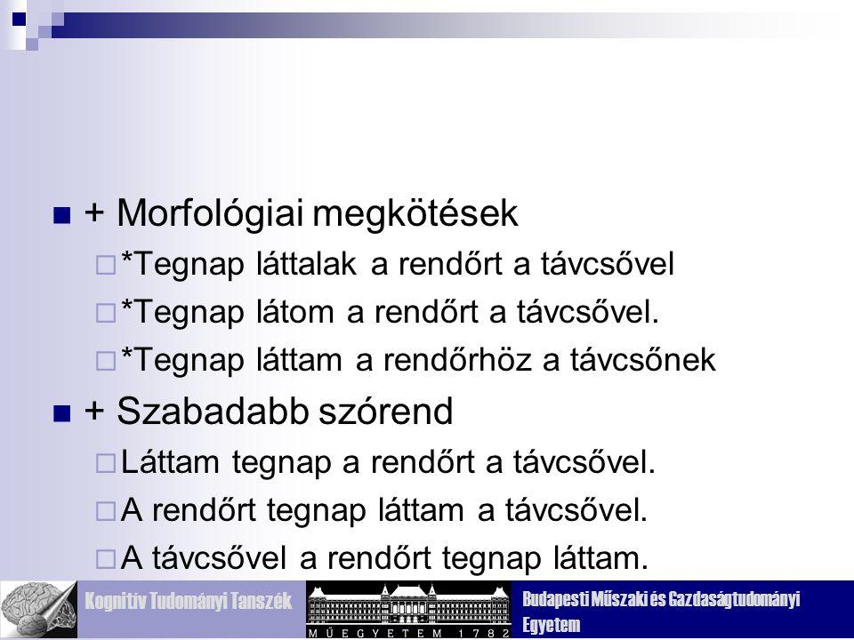 + Morfológiai megkötések