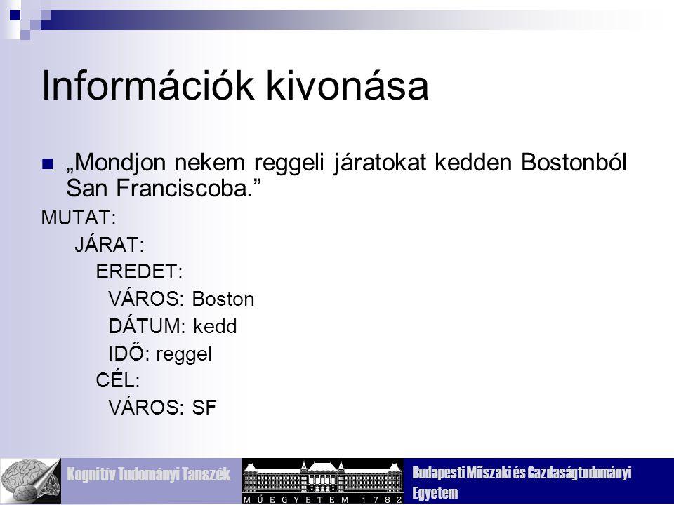 """Információk kivonása """"Mondjon nekem reggeli járatokat kedden Bostonból San Franciscoba. MUTAT: JÁRAT:"""