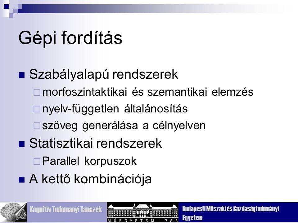 Gépi fordítás Szabályalapú rendszerek Statisztikai rendszerek