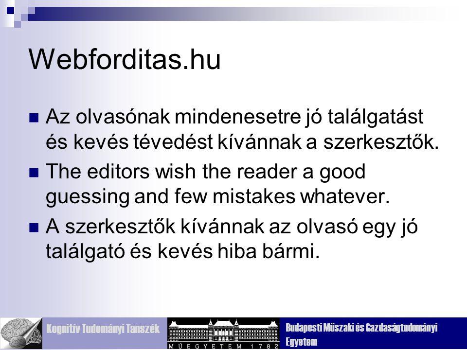 Webforditas.hu Az olvasónak mindenesetre jó találgatást és kevés tévedést kívánnak a szerkesztők.