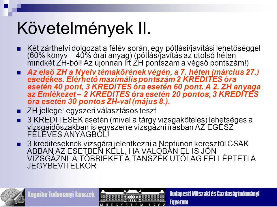 Követelmények II.