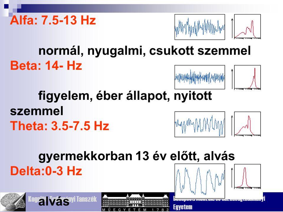 Alfa: 7.5-13 Hz normál, nyugalmi, csukott szemmel. Beta: 14- Hz. figyelem, éber állapot, nyitott szemmel.