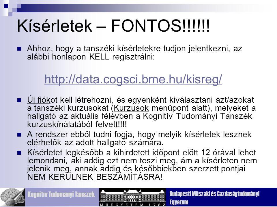 Kísérletek – FONTOS!!!!!! Ahhoz, hogy a tanszéki kísérletekre tudjon jelentkezni, az alábbi honlapon KELL regisztrálni: