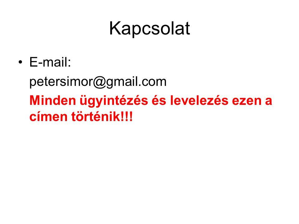 Kapcsolat E-mail: petersimor@gmail.com