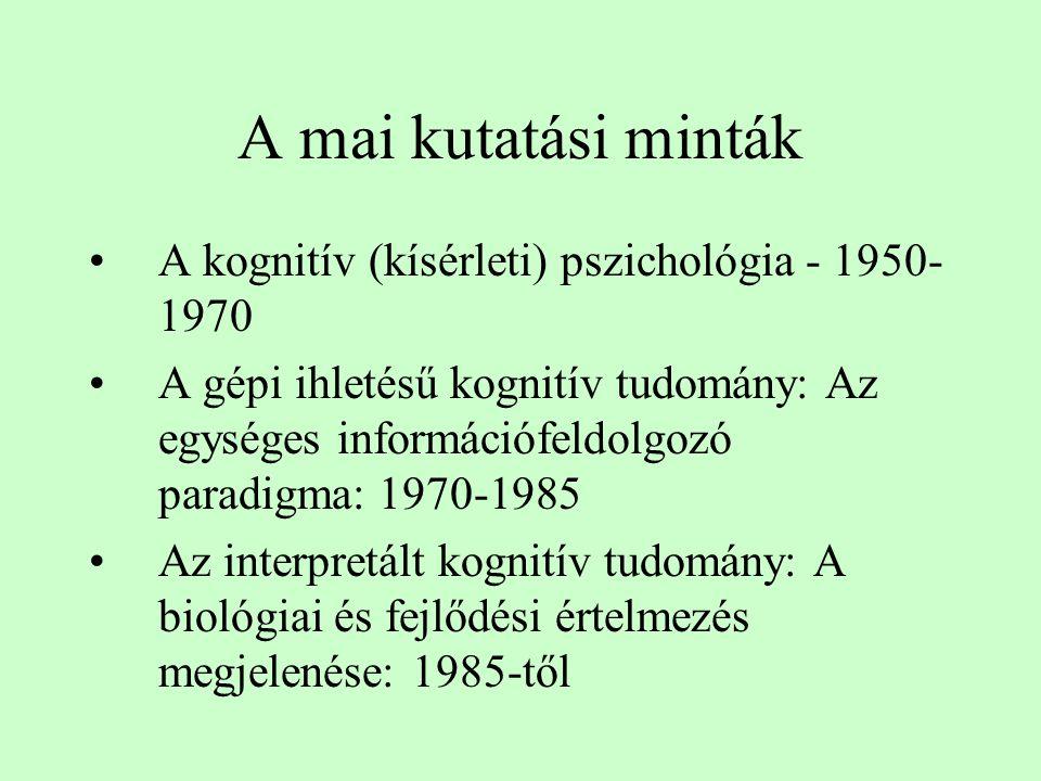 A mai kutatási minták A kognitív (kísérleti) pszichológia - 1950-1970
