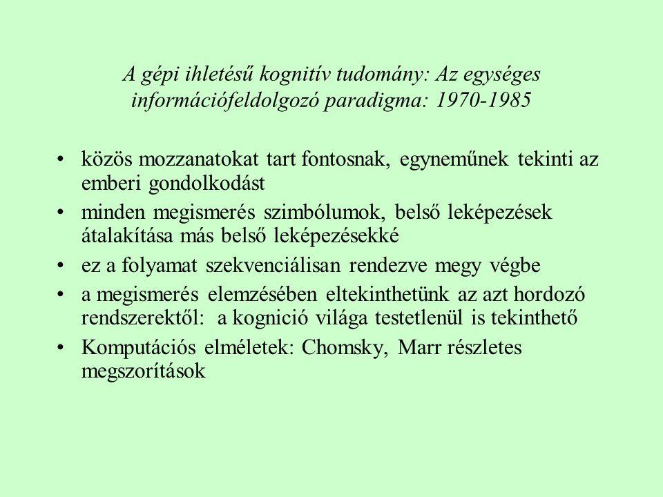 A gépi ihletésű kognitív tudomány: Az egységes információfeldolgozó paradigma: 1970-1985