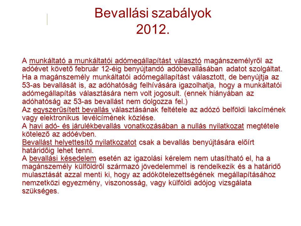 Bevallási szabályok 2012.