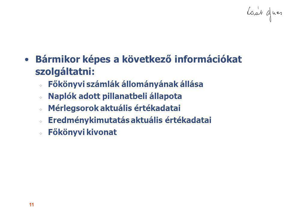 Bármikor képes a következő információkat szolgáltatni:
