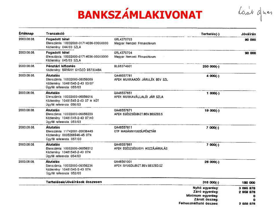 BANKSZÁMLAKIVONAT