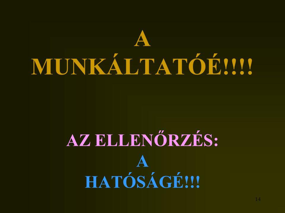 A MUNKÁLTATÓÉ!!!! AZ ELLENŐRZÉS: A HATÓSÁGÉ!!!