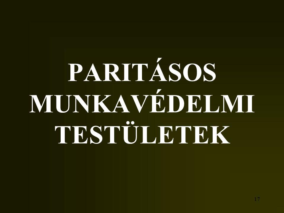 PARITÁSOS MUNKAVÉDELMI TESTÜLETEK